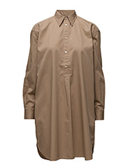 LS RELAXED SHIRTDRESS - VINTAGE TAN