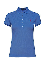 Skinny Fit Stretch Mesh Polo - COLBY BLUE