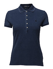 Skinny Fit Stretch Mesh Polo - DARK INDIGO