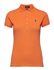 Skinny Fit Stretch Mesh Polo - LIFEBOAT ORANGE