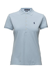 Skinny Fit Stretch Mesh Polo - POWDER BLUE