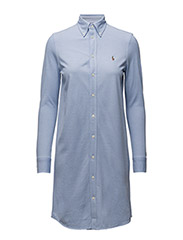Knit Cotton Oxford Shirtdress - HARBOR ISLAND BLUE