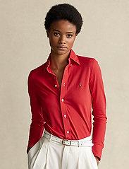 Polo Ralph Lauren - Knit Cotton Oxford Shirt - langærmede skjorter - bright hibiscus - 0