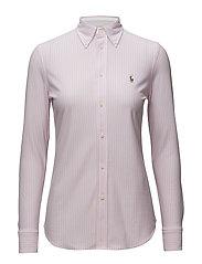 Striped Knit Oxford Shirt - CARMEL PINK/WHITE