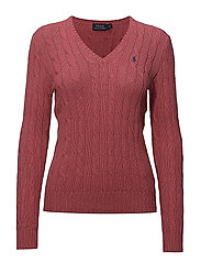 Cotton V-Neck Cable Sweater