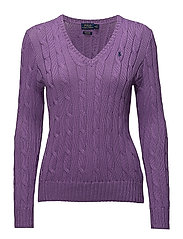 Cotton V-Neck Cable Sweater - AMETHYST