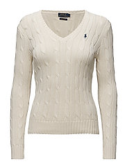 Cable-Knit V-Neck Sweater - CREAM