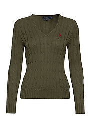 Cotton V-Neck Cable Sweater - DEFENDER GREEN