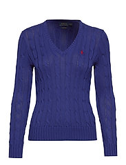 Cotton V-Neck Cable Sweater - FALL ROYAL