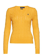 Cotton V-Neck Cable Sweater - GOLD