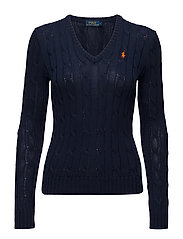 Cotton V-Neck Cable Sweater - HUNTER NAVY