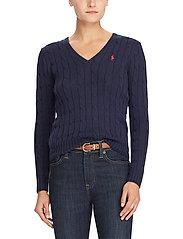 Polo Ralph Lauren - Cable-Knit V-Neck Sweater - trøjer - hunter navy - 0