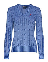 Cotton V-Neck Cable Sweater - MAIDSTONE BLUE