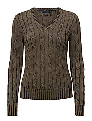 Cotton V-Neck Cable Sweater - OLIVE
