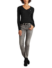 Polo Ralph Lauren - Cable-Knit V-Neck Sweater - trøjer - polo black/white - 4