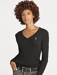 Polo Ralph Lauren - Cable-Knit V-Neck Sweater - trøjer - polo black/white - 5