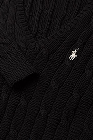 Polo Ralph Lauren - Cable-Knit V-Neck Sweater - trøjer - polo black/white - 6