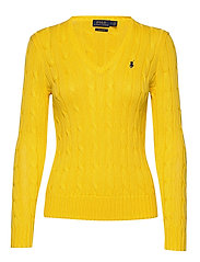 Cotton V-Neck Cable Sweater - TRAINER YELLOW
