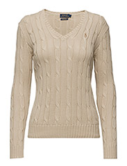 Cotton V-Neck Cable Sweater - NATURAL