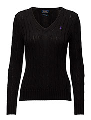 Cotton V-Neck Cable Sweater - POLO BLACK
