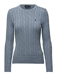 Cable-Knit Crewneck Sweater - CHAMBRAY
