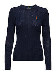 Cable-Knit Crewneck Sweater - HUNTER NAVY