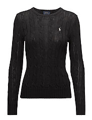 Cable-Knit Cotton Sweater - POLO BLACK/WHITE
