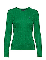 Cable-Knit Cotton Sweater - PREPPY GREEN