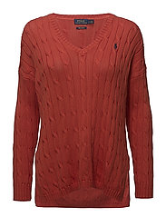 Cable-Knit Side-Slit Sweater - TOMATO