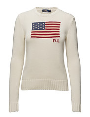 Flag Cotton Crewneck Sweater - CREAM MULTI