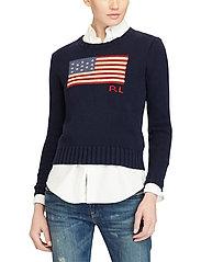 Polo Ralph Lauren - Flag Cotton Crewneck Sweater - jumpers - hunter navy mul - 0