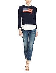 Polo Ralph Lauren - Flag Cotton Crewneck Sweater - jumpers - hunter navy mul - 5