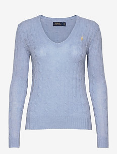 Cable Wool-Cashmere Sweater - gensere - lt blue heather