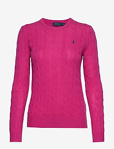 Cable Wool-Cashmere Sweater - CURRANT