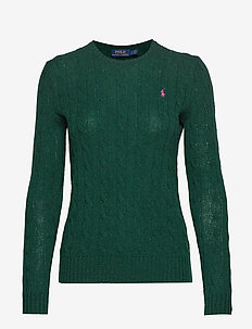 Cable Wool-Cashmere Sweater - FOREST GREEN HEAT