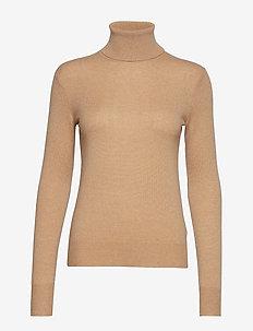 Cashmere Turtleneck Sweater - CAMEL MELANGE
