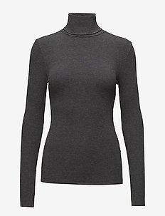 Ribbed Turtleneck Top - BARCLAY HEATHER