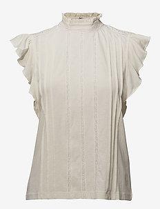 Band-Collar Ruffled Cotton Top - ANTIQUE CREAM