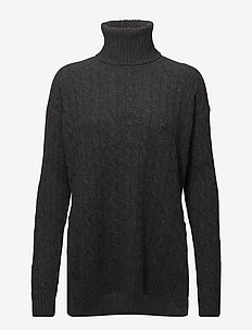 Slit Cable Turtleneck Sweater - BRISTOL HEATHER