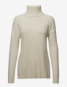 Slit Cable Turtleneck Sweater - CREAM