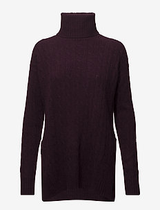 Slit Cable Turtleneck Sweater - ELDERBERRY HEATHE