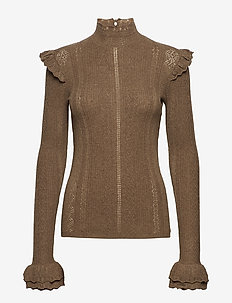 WOOL POINTELLE-LSL-SWT - LIGHT BROWN HEATH