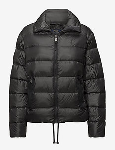 Embroidered Down Jacket - NAVY GREY