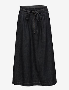 Denim A-Line Midi Skirt - DARK INDIGO