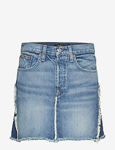 Two-Tone Denim Skirt - MEDIUM INDIGO
