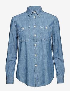 CHAMBRAY-LSL-SHT - denim shirts - medium indigo