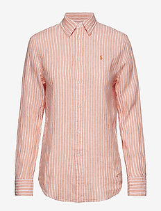 LINEN STRIPES-LSL-SHT - 956F POPPY/WHITE