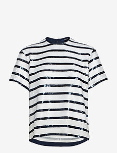 BEADED STRIPES-SSL-SHT - WHITE/NAVY STRIPE
