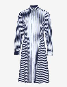 Cotton Broadcloth Shirtdress - 955D NAVY/WHITE