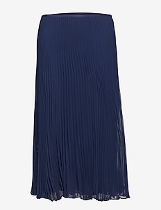 PLEATED POLY GGT-SKT - CRUISE NAVY